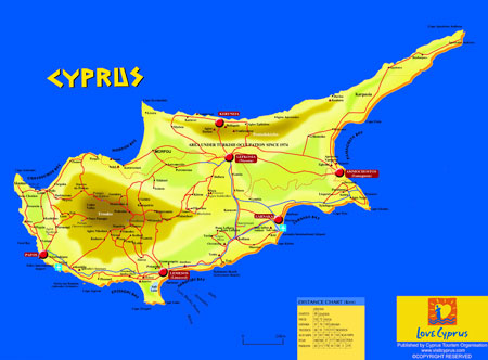 Official Website For Larnaka Pafos International Airports - Cyprus map with airports